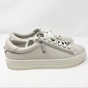 J/SLIDES Harling Cream Leather Tennis Shoes NWT 10